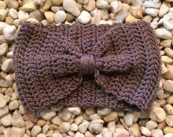 Crochet bow headband, bow ear warmer, wide band cinched head wrap