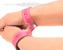BDSM Bondage Leather Wrist Restraint Slave Cuff Submissive Day Wear Bracelet in Petal Pink and Pearl White