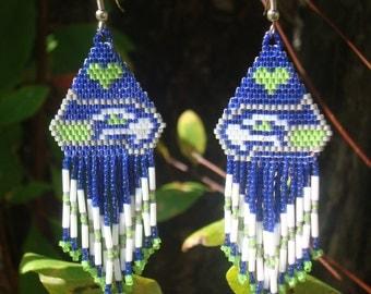 Seahawk Love, Team Inspired Hand Beaded Earrings