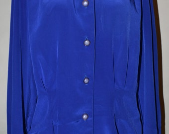 Vintage Royal Blue Shirt by L'Image Size 16