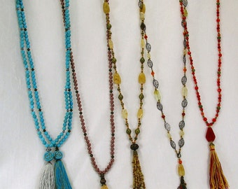 Gemstone Necklaces/Long Tassel Necklaces/Boho Necklaces/Turquoise Necklaces/Leaf Necklaces/Red Necklaces/Cream Necklaces/FREE EARRINGS