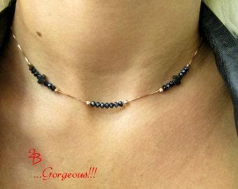Cross Choker, Rose Gold Choker Necklace, Cross Necklace for Women, Layering Choker Necklace, Choker for Women, Black Beads Necklace,