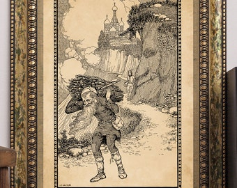 "C.F. Arcier 1915 ""The Wonderstaff"" Antique Children's Fairy-Tale Story-Book Art Print Old Man Mountains Royal Palace"
