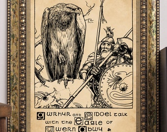John D. Batten 1892 Celtic Fairy Tales The Eagle of Gwern Abwy Antique Children's Story-Book Art Print Fantasy