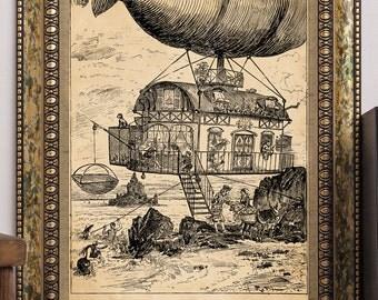Albert Robida Art Print Steampunk Futuristic Airship Aircraft Aerochalet Airborne Chalet on Beach Antique Vintage 1883