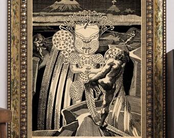 "Maori Legends ""Maui's Fight With the Sun"" 1907 Wilhelm Dittmer Antique Book Illustration Art Print New Zealand"