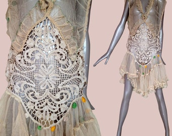 1920s net lace flapper dress