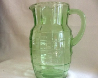 Green Optic Block Depression Glass Pitcher