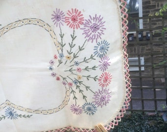 Hand Embroidered Floral  Dresser/Table Scarf