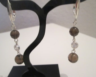 925 with smoky quartz Sterling Silver earrings