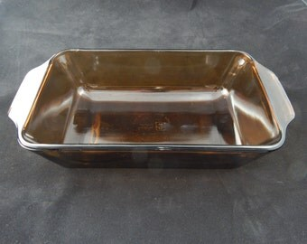 Vintage Anchor Hocking  1 Quart Bread Pan Amber 441