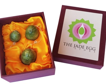 Jade Egg Set for Kegel Exercises with Instruction Guide; Pre-drilled 100% Natural Helu Jade Yoni Weights
