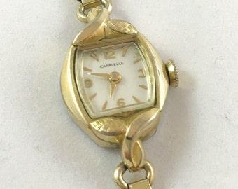 Vintage 1960s Bulova Caravelle Petite Ladies Gold Tone Wind-Up Mechanical Bracelet Watch