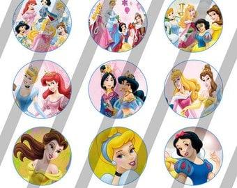 Disney Princess digital collage sheet 4x6 for bottlecaps - 1 inch - INSTANT DOWNLOAD