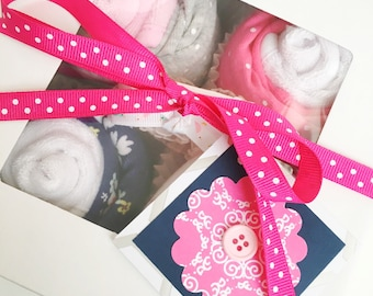 Baby Shower Gift, New Baby Girl Gift - Long Sleeve Bodysuit Cupcake Set
