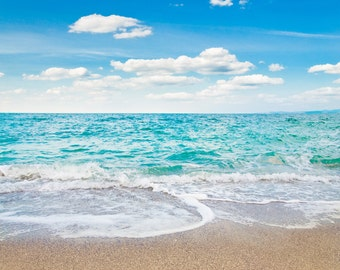 Fantasy Sea Beach Backdrop - blue water, sky, summer, romantic - Printed Fabric Photography Background G0158