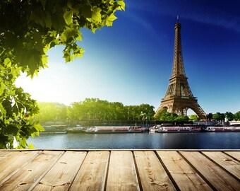 Eiffel Tower Backdrop - romantic scene, wedding, Paris - Printed Fabric Photography Background G0668