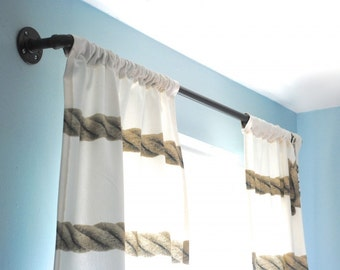 Window Curtain Rod, Urban Industrial Chic decor Steel Plumbing Pipe with custom lengths