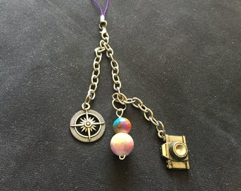 Photo Camera and Bead Planner Charm / Purse Charm / Zipper Pull