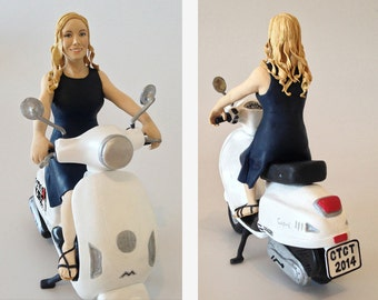 Personalized figurine on Motorcycle - Polymer clay handmade