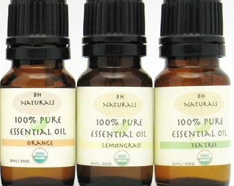 Essential Oil kit  Lemongrass,Orange, Tea Tree USDA Certified 100% Organic