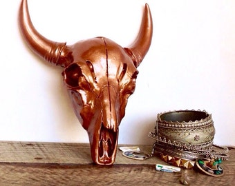 Copper Cow Skull - Faux Taxidermy - Faux Cow Skull - Western Decor - Copper Wall Decor - Decorative Skulls - Bohemian Decor - Cattle Skull