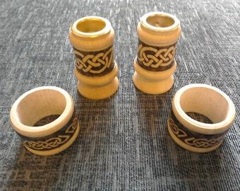 Wooden Candlestick & Napkin Ring Set - hand burnt with Celtic knotwork design