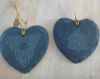 Celtic Knotwork Slate Hanging Hearts, hand engraved with a choice of Celtic knotwork design