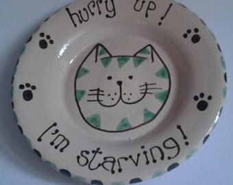 Cat dish/bowl/foodbowl/cat lovers gift/feline gift/cat lovers/present present/cute cat pottery/cat birthday gift/feline christmascat gift