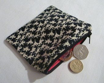 Recycled Cotton Black and White Horse Print Coin Purse with Zip.