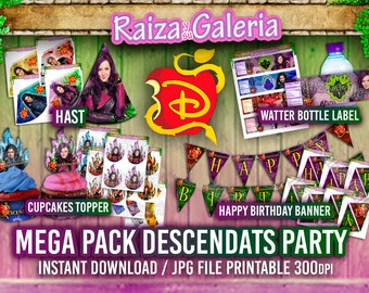 MEGA PACK - Disney Descendants Party - Happy Birthday Banner, Invitations Personalized, Food Labels, Hats, T-Shirt, Cupcake, Watter Bottle