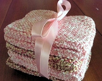 Hand- Knitted Washcloths - Set of 4