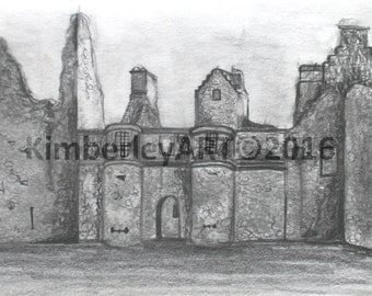 Scottish Castle Wall Art Print, Tolquhon Castle Art Print, Castle Ruin Art Print, Sketching Castle Art Print, Wall Art Print, Scotland Art