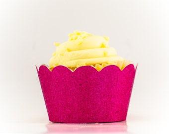 Fuschia Glitter Cupcake wrapper