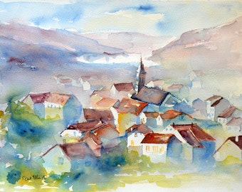 Village watercolor, city watercolor, Original painting,Watercolour,Watercolor, aquarelle de village,Aquarelle,peinture originale,Vosges