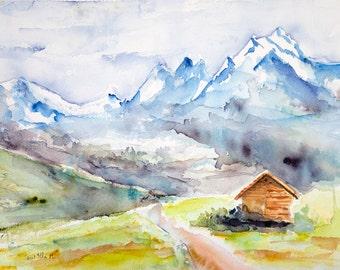 Original mountain watercolor,original mountain painting, Original Watercolour, Watercolor, mountain painting