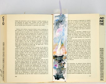 Original watercolor bookmark of a sail boat on the sea
