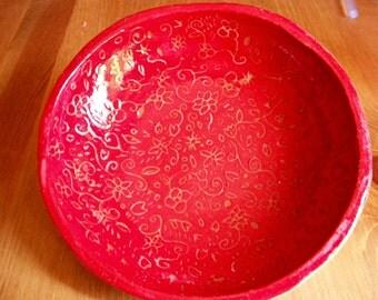 Red flower dish
