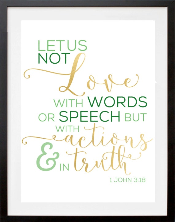 Bible Verses About Friendship English : John love with actions bible verse print by