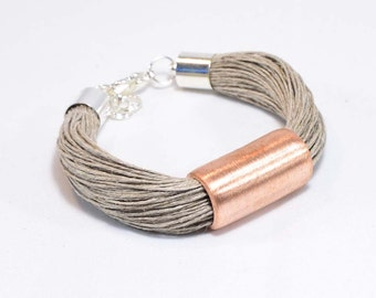 Flaxseed bracelet with copper