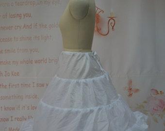 Quality 3 hoops Big Kids/Short Dress Lace Trim Petticoat Flower Girl Dress/Short Dress Slip Crinoline PTCT040 SALE