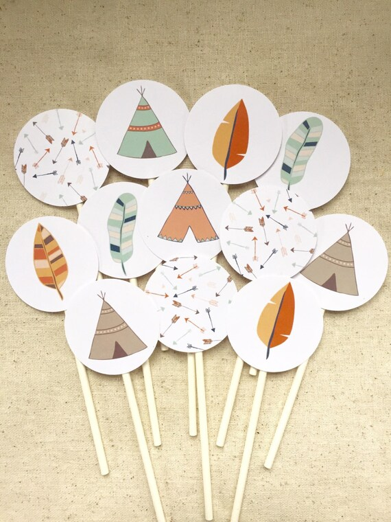 Items Similar To Tribal Cupcake Toppers Teepee Cupcake
