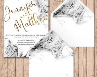 Envelope Liners - Digital - Print At Home - Marble Watercolour Envelope Liners - Printable Envelope Liners