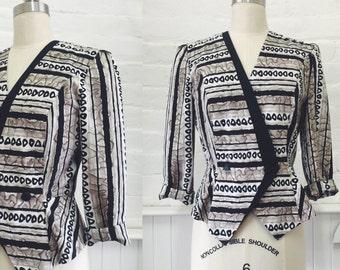 80's printed peplum jacket
