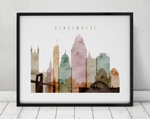 cincinnati watercolor print poster ohio wall art cincinnati skyline city