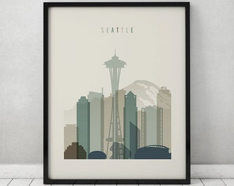 Seattle print, Seattle poster, Wall art, Seattle skyline, cityscape, City poster, Typography art, Home Decor, Digital Print ArtPrintsVicky.