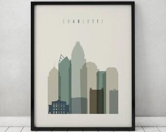 Charlotte art print, Poster, Wall art, North Carolina, Charlotte skyline, City prints, Travel poster, Home Decor, Gift, ArtPrintsVicky