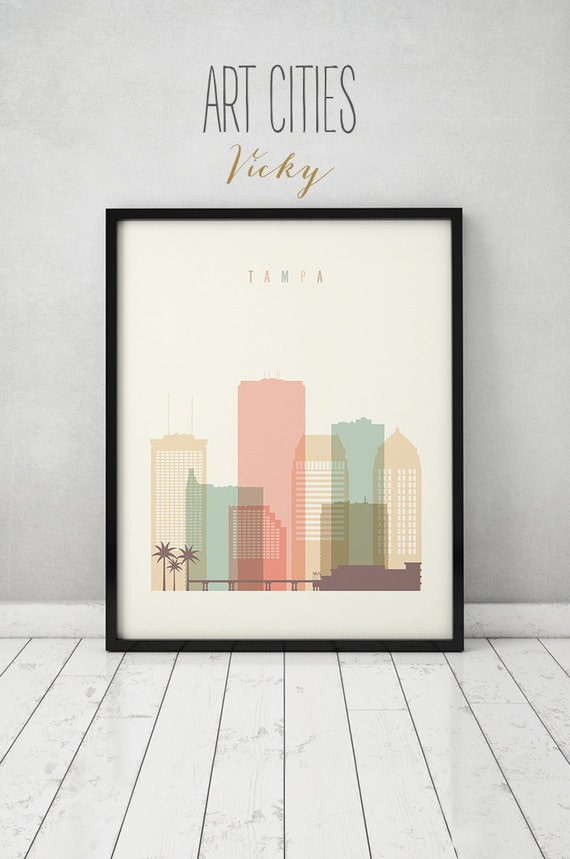 Tampa print tampa poster wall art florida cityscape tampa Home decor tampa