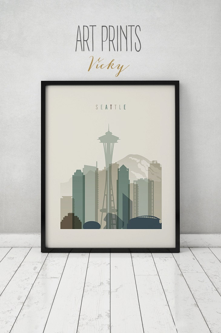 seattle print seattle poster wall art seattle skyline cityscape city poster - Seattle Home Decor