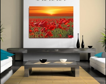 Poppy Field Poppies Kent Countryside (FRAMED>UK ONLY) Print Canvas Wall Art Large single Rolled Canvas Poster or Box Framed